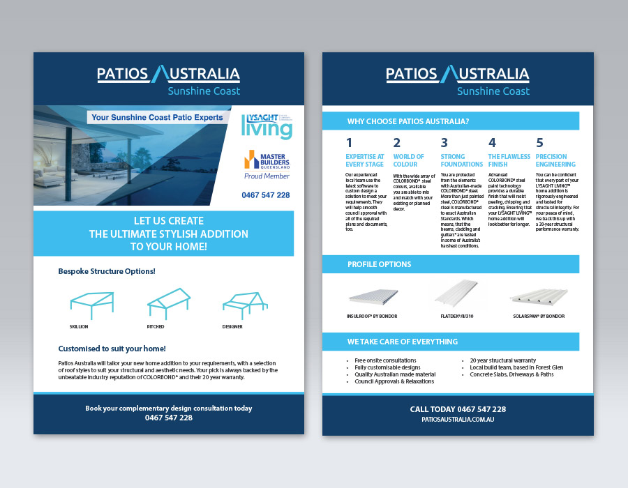 Brand Design & Brochure | Patios Australia Sunshine Coast